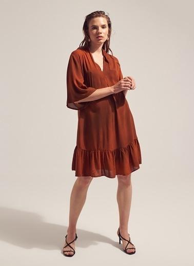 Monamoda Eteği Fırfırlı Desenli Elbise Oranj